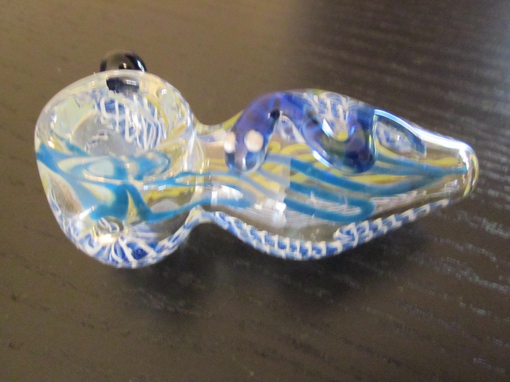 Great yellow blue glass smoking weed pipe.