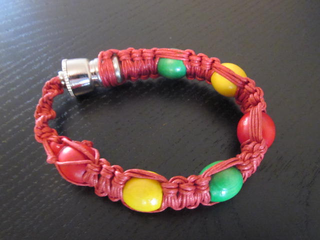 Smoking pipe bracelet style red color fit all sizes.