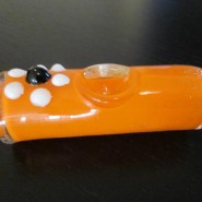 orange glass smoking pipe
