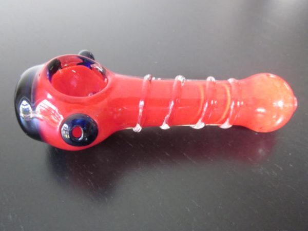 blue red glass smoking weed pipe