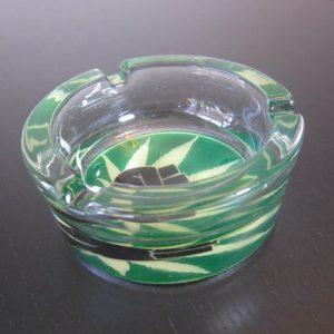 green clear marijuana style ashtray